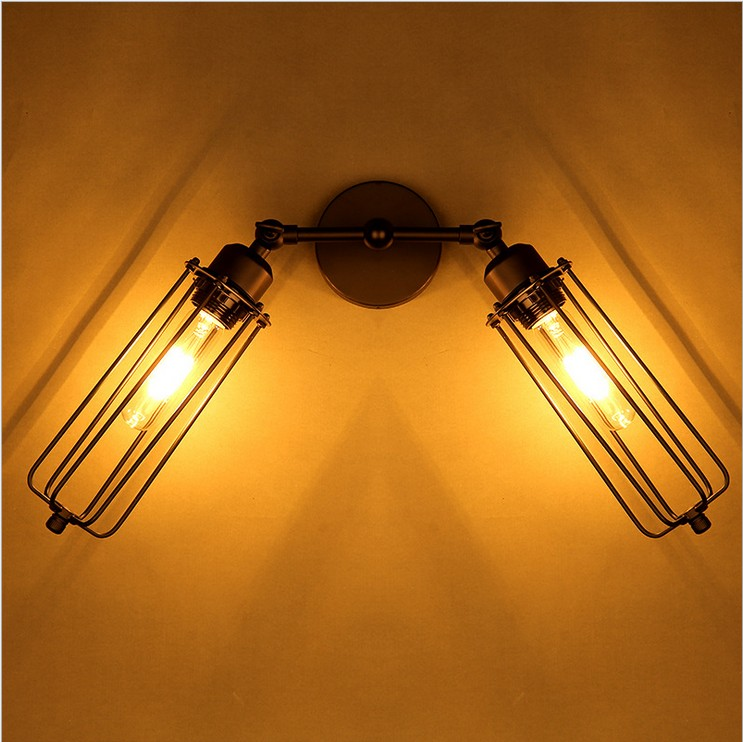 !Nordic LOFT American retro personality minimalist style loft double Gladiator wall sconce lamp lights lighting - Nordic Home Decorations store