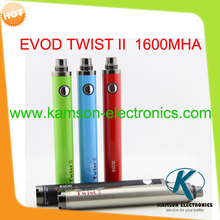 New evod twist II battery evod twist 2 1600mah electronic cigarette ecig variable voltage VS ego c twist spinner 2 battery