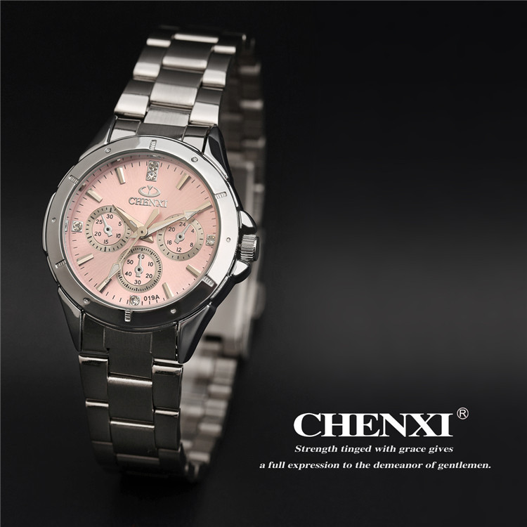 Woman Business Watches Famous Brand CHENXI Full Steel Strap Dress Quartz Wrist watches Sport Watch for Woman Pink Watches