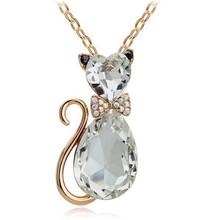 Rhinestone Crystal Cat Necklace