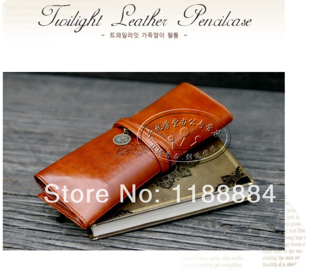 2pcs/lot Europe style Pencil case stationery case pencil case leather cosmetic bag free shipping