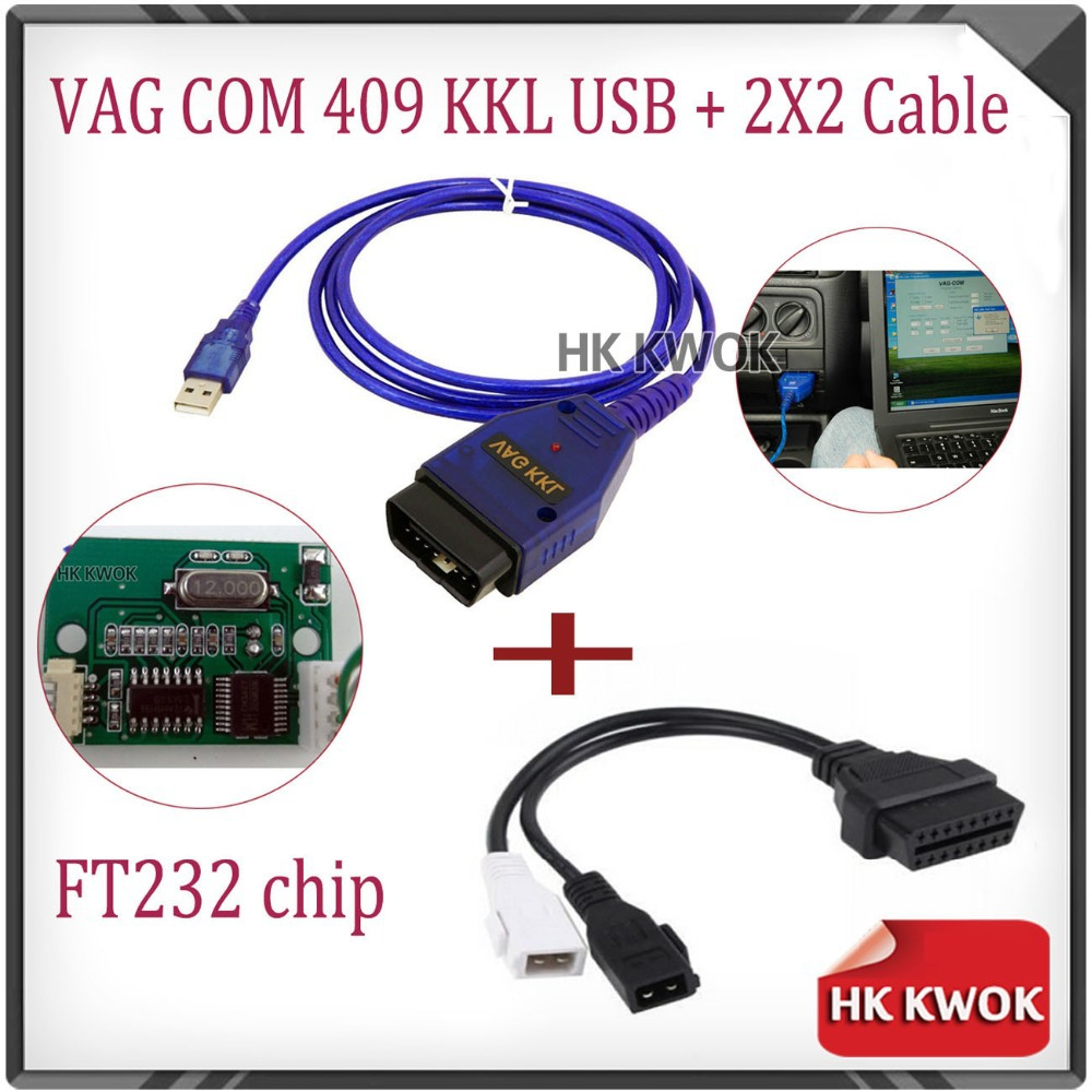 Гаджет  For audi VW Skoda 2x2 2+2 VAG-COM Vag Com 409.1 KKL OBD 2 II USB Cable Diagnostic Scanner Tool Interface with fidi ft232 chip None Автомобили и Мотоциклы