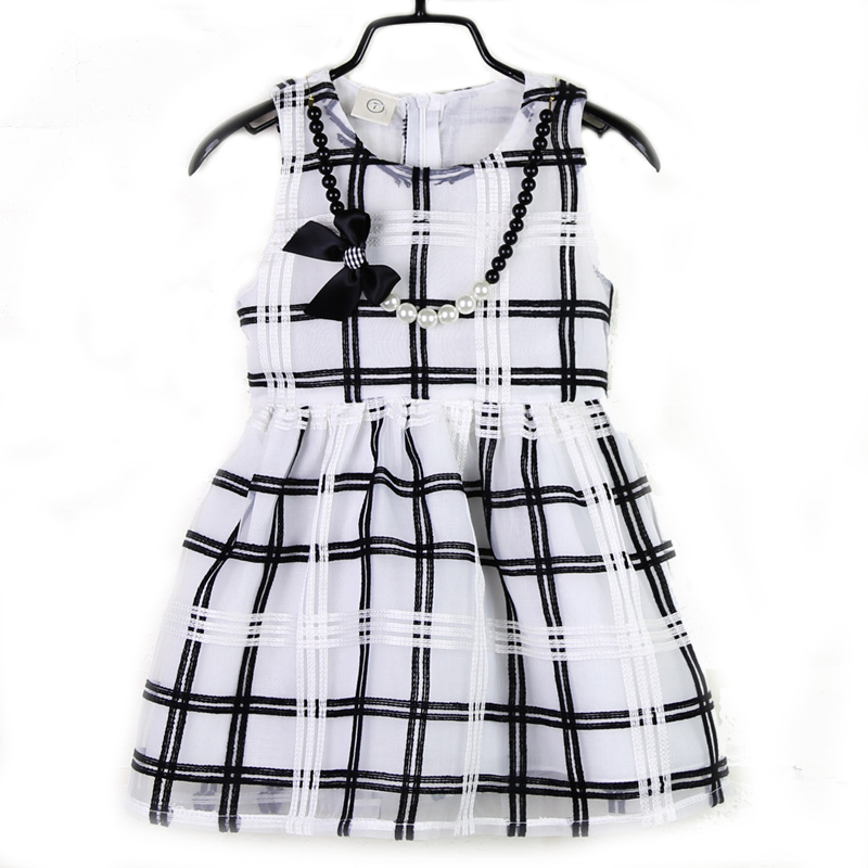 2015 Summer Girl Plaid Ball Gown Dress White Sleeveless Free Beautiful Bow Beading Necklace Korea Style Patchwork Age 2-6<br><br>Aliexpress