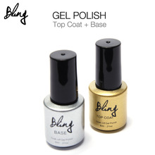 Bling Nail Gel  UV Top Coat + UV Base Coat Foundation for UV Gel Polish Top it off 30 day long lasting 6g