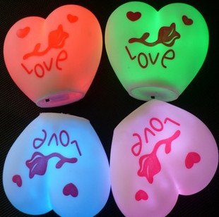 Free shipping! Love heart-shaped LED night lamp/light, Colorful heart-shaped ,wedding, christmas, valentine's day, parties DIY(China (Mainland))