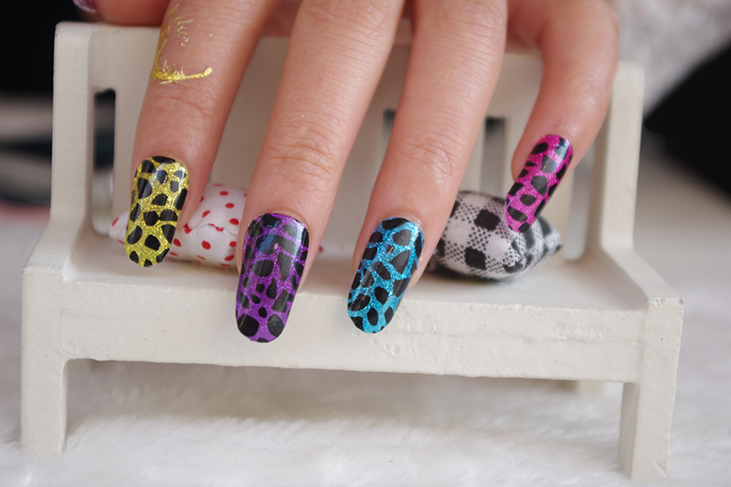 Y5031 New 2015 Design Acrylic Nail Art Sticker Colorful Leopard Decor Sexy Fingernails Sticker Manicure Adhesive Foil Decals(China (Mainland))