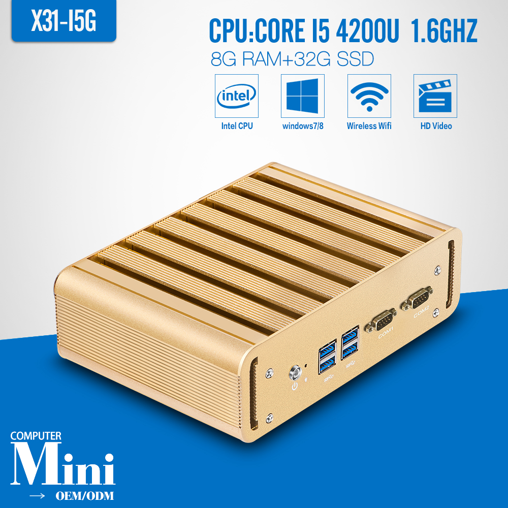 Industrial PC Mini Computer Station Fanless Industrial I5 4200U 8G RAM 32G SSD+WIFI Thin Client Support HD Video(China (Mainland))