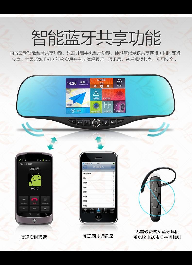 Ly 600а многофункциональный камкордер автомобиля, Автомобильный навигатор, 5.0 '' сенсорный экран, Android система, Ночь версия две камеры full HD 1080 P