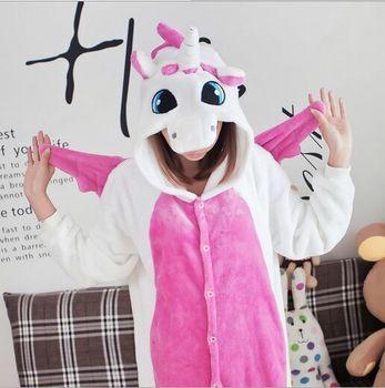 Hot Adult Fleece Pink Unicorn Onesie Pajamas Adult Unisex Cosplay Animal onesies for adults pajama suit pijamas feminino