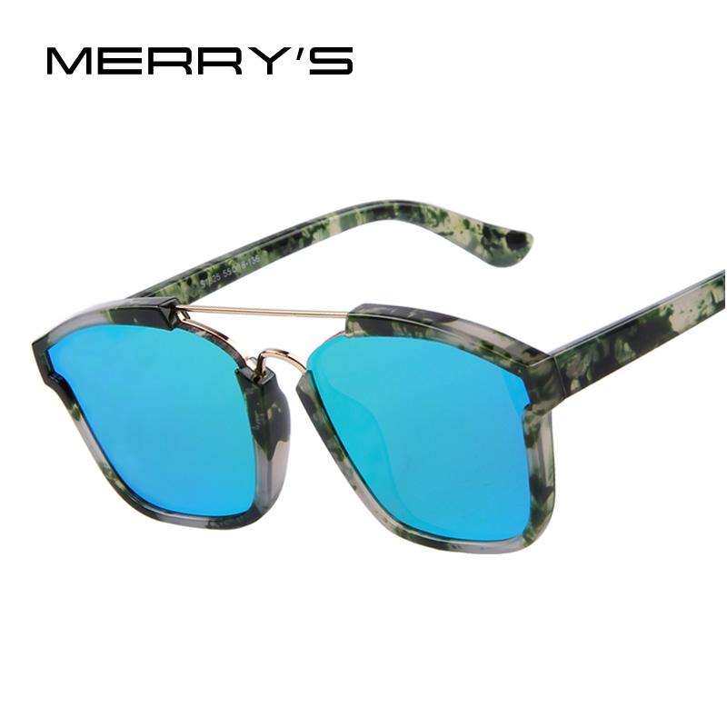 MERRY'S Fashion Women Double-Bridge Printing Shield Frame Sunglasses Oculos de sol UV400(China (Mainland))