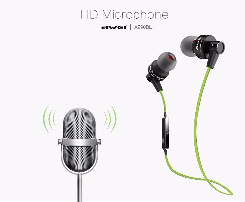 original AWEI A990BL Wireless bluetooth earphones Sport Headset Bluetooth earbuds handsfree Sweatproof with mic for mobile phone