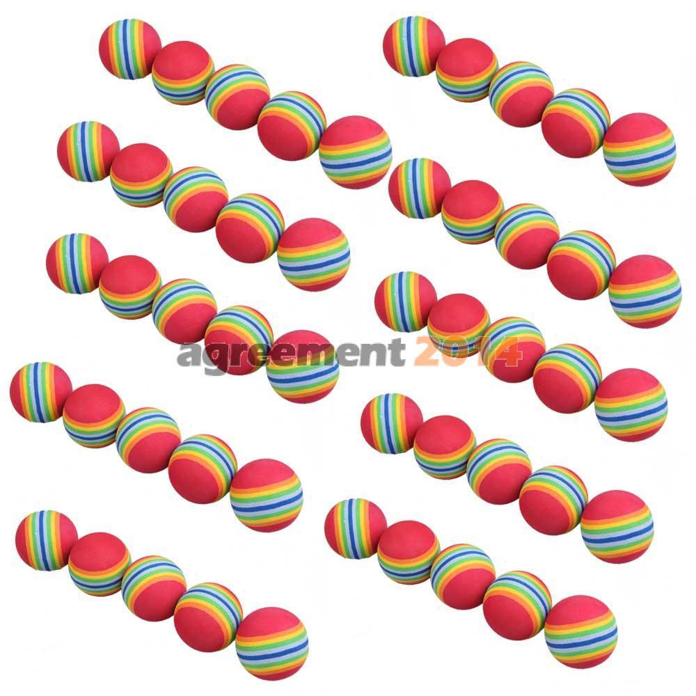 50pcs Golf Swing Training Aids Indoor Practice Sponge Foam Rainbow Balls ARE4(China (Mainland))