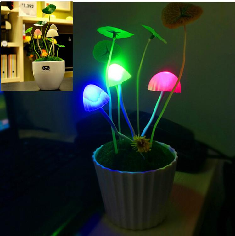 Fashion New Colorful Romantic LED Mushroom Night Light Dream Bed Lamp Home Illumination Avatar Led Night Light(China (Mainland))