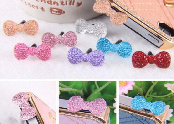 Kawaii Candy Colors Crystal Bowknot 3.5mm Earphone Plug Jack Jacket Stopper Stopple ; Smart Phone 4 4s Plug Hole Cap Jack Socket(China (Mainland))