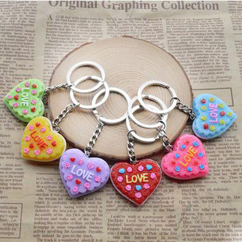 3 Pieces Gags Practical Jokes Key Chain Heart-Shaped Cake Design Bags Hang Small Gifts Decoration Room Car Cloth Elegant Simple(China (Mainland))