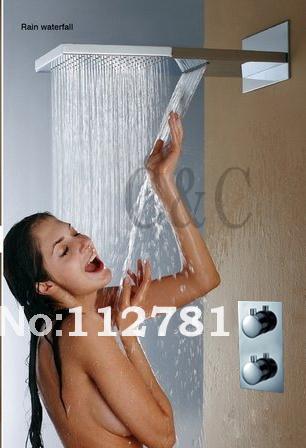 waterfall shower head  dual rain  waterfall functions shower brass thermostatic mixer