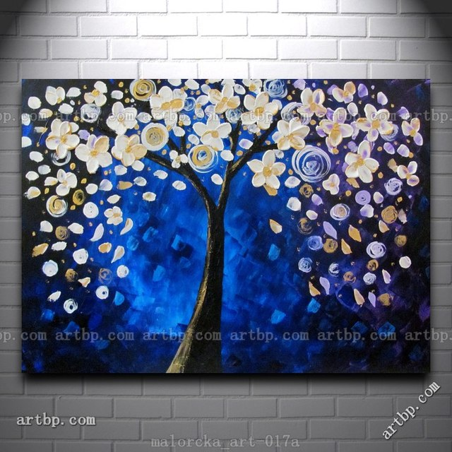 Blue Magic Acrylic Tree Abstract In. Malorcka Original Painting Acrylic Paints Large Modern Wall Art Decorations Home Wall