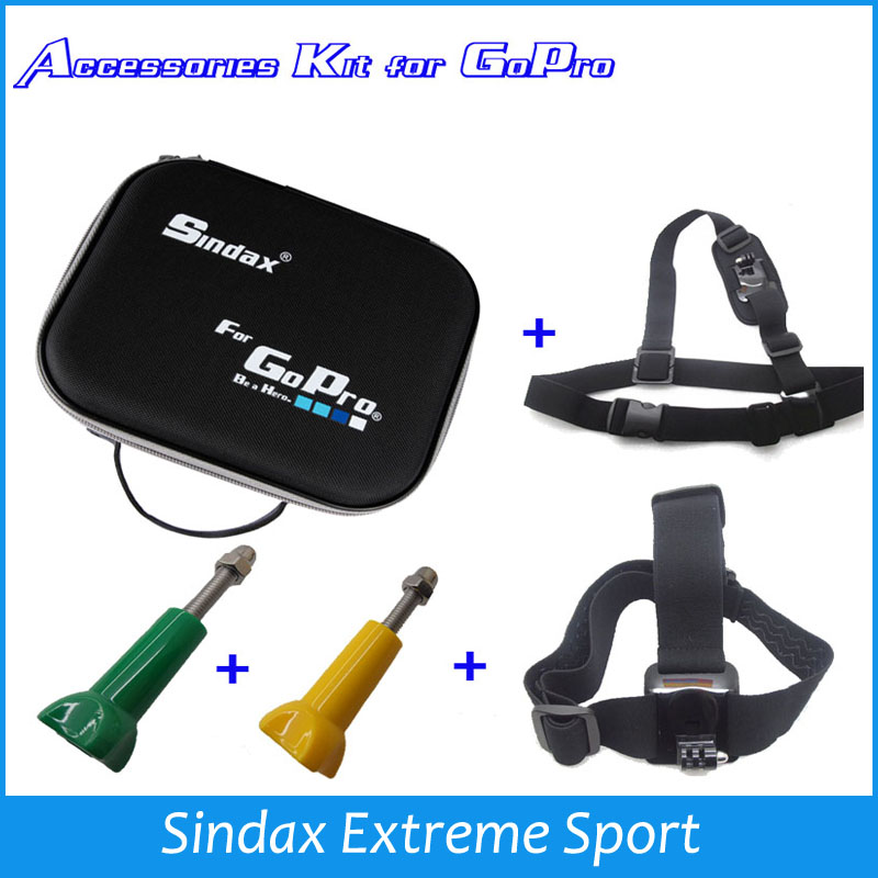 Promotion Sale!! Sindax  Bags+Shoulder strap+Head strap+Thumb Knob bolts For SJ4000 for Go Pro Hero3 2 1 HD <br><br>Aliexpress