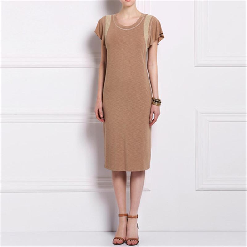 Summer women brief pensil dress short petal sleeve round neck collar middle waist  knee length viscose plus spandex F9A11
