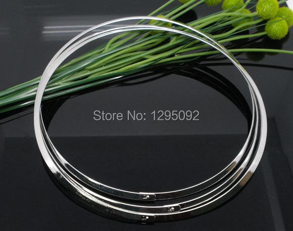 75Pcs Wholesales Choker Necklaces Flat Torques Silver Tone Component Women &amp; Men Jewelry 20 (50.8cm)<br><br>Aliexpress
