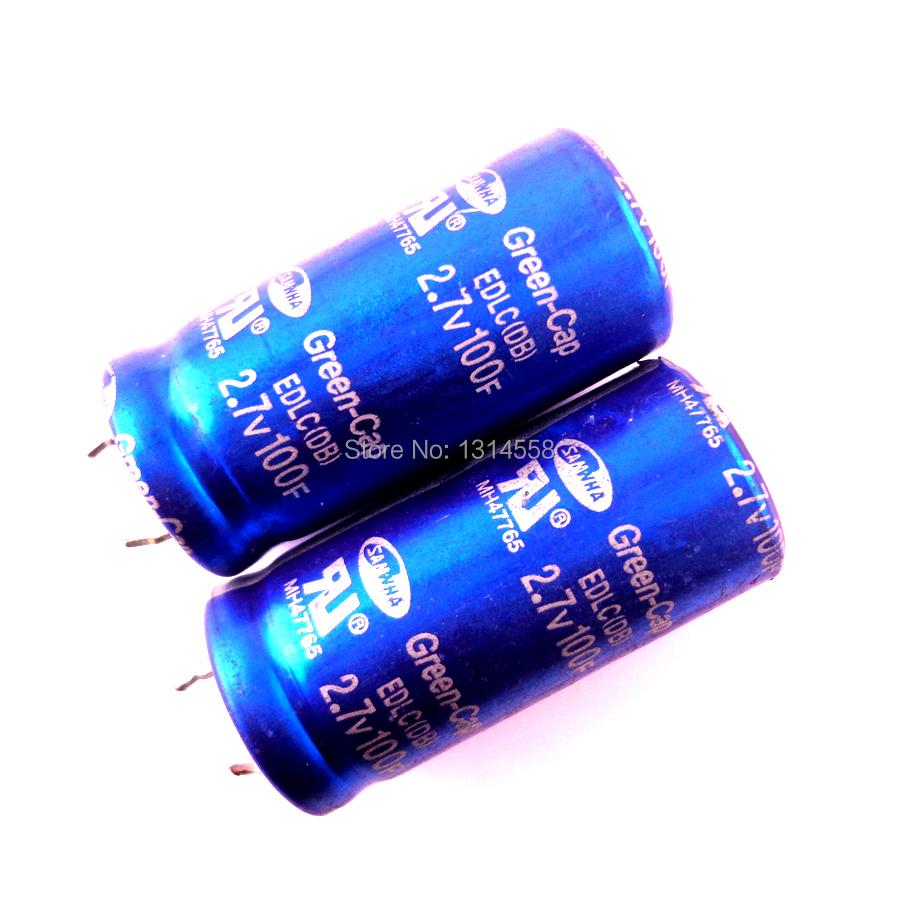 Free Shipping! 2pcs high quality 2.7V 100F 2.7V100F 22*45MM Super capacitor / farad capacitor(China (Mainland))