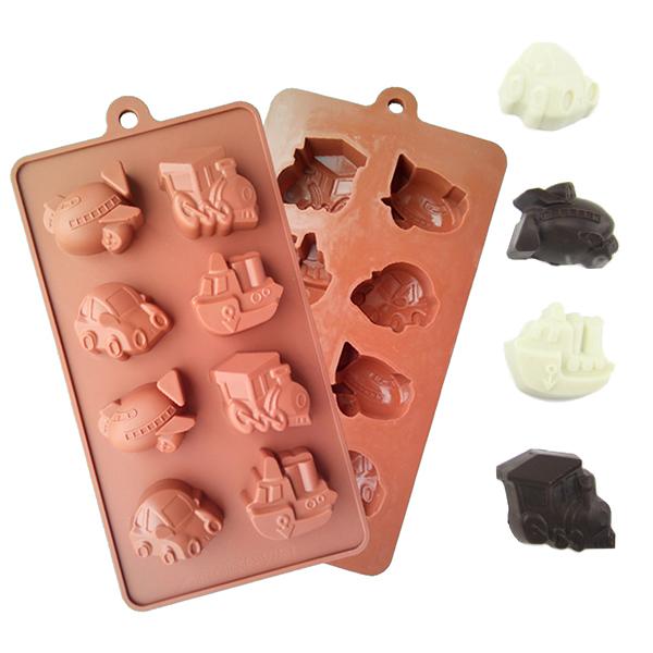 1PCS chocolate mold vehicle transport machine ship train car plane Sweet Candy,fondant Cake Tools Mold Silicone Bakeware(China (Mainland))