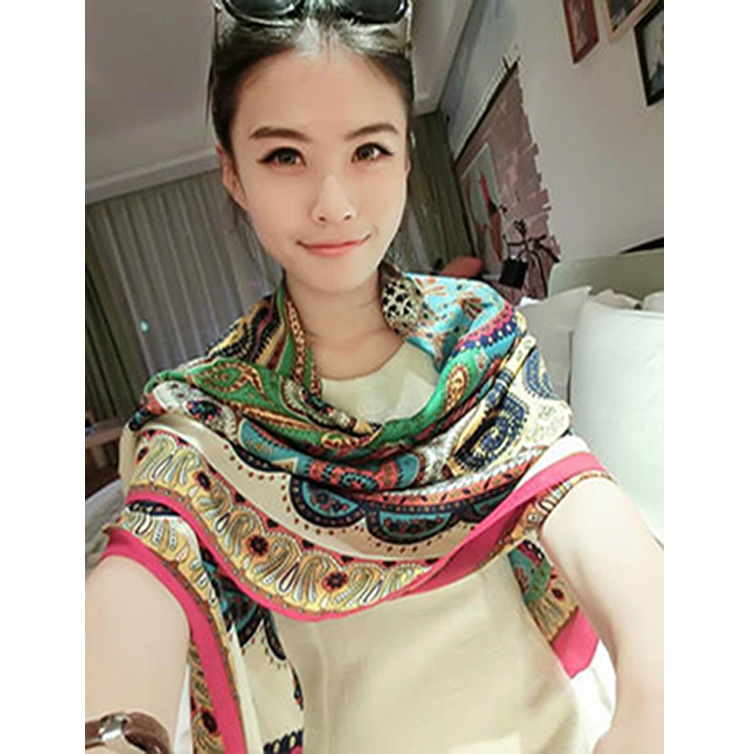 S076 large square Korea retro summer sun beach towel cotton scarf shawl air conditioning dual female - Lan-xuan Online Outlet Stores store