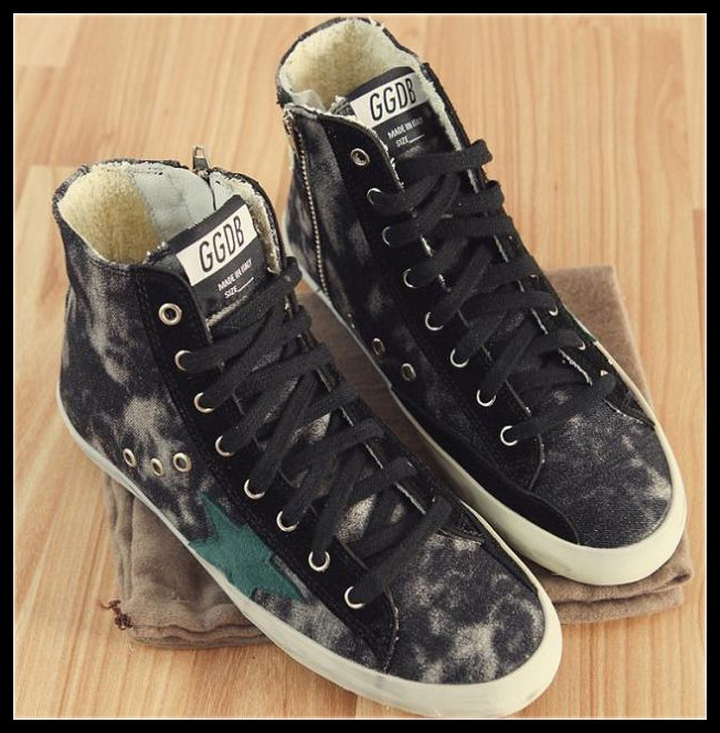 Fashion Style 2015 Famous Brand Golden Goose GGDB Girl Camouflage Retro Flat Lovers Canvas Shoes High-top Casual Sports - HIGH END Trade store