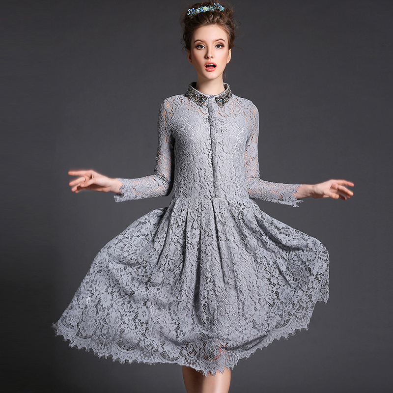 Grey Lace Dress With Sleeves - Missy Dress