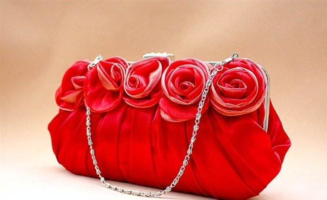 Free Shipping Red Rose Satin Flowers Handmade Ladyu0026#39;s Evening HandbagBridal Clutch Purse 1pcs ...