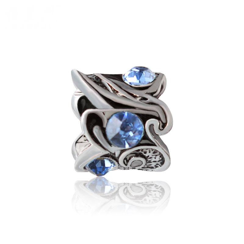 Free Shipping Jewelry 925 Silver Bead Charm European Style Blue Crystal Silver Bead Fit Pandora Bracelets & Bangles YW15072B(China (Mainland))