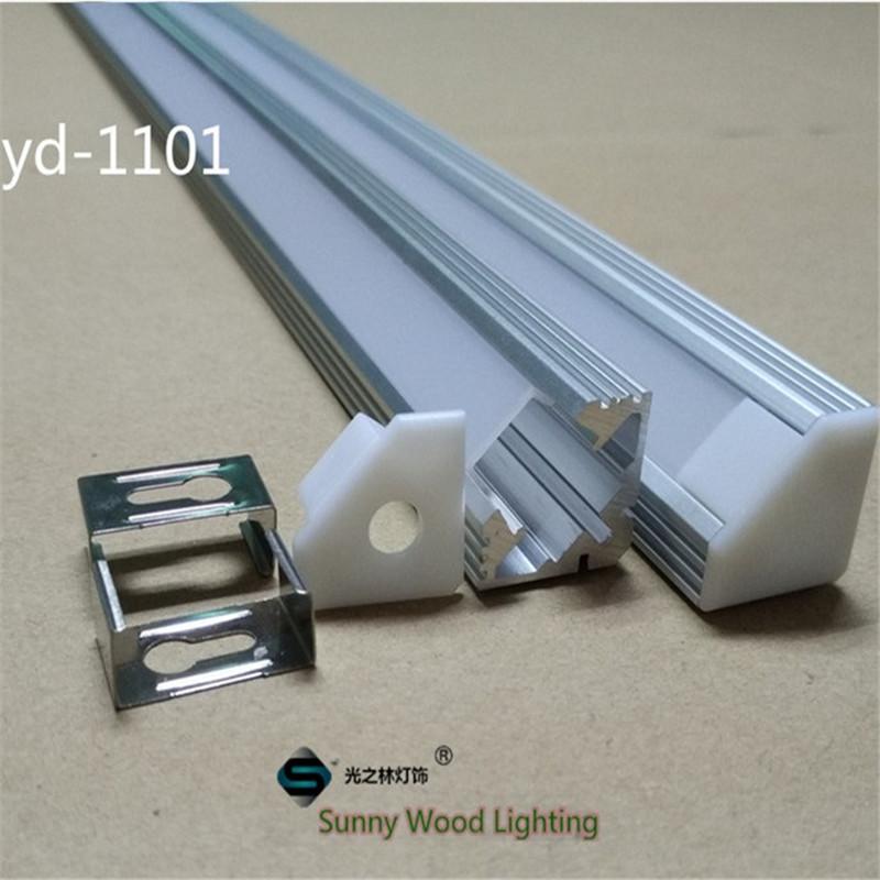 10pcs/lot 40inch 1m led aluminium profile,45degree corner led channel with cover ,led strip housing for bar light(China (Mainland))