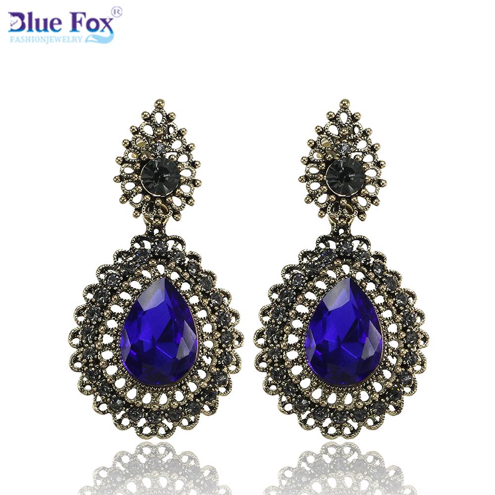 Christmas Gift Jewelry 2015 Fashion fine jewelry Antique Rhinestone Alloy Dig Drop earrings Luxury Elegant Earring women - Blue Fox Trade Co. store