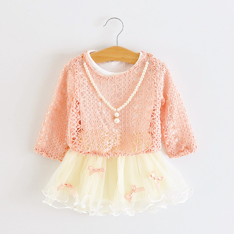 Christmas Dress baby girls dresses,bownot lace long sleeve children kids clothes ball gown 1-3yrs pink purple