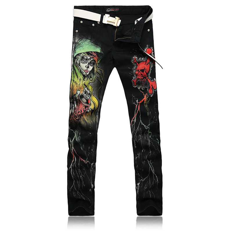 Designer Wholesale Men's Clothing Cool Mens Printed Jeans Skull