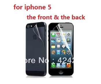 Clear!! For iPhone 5 Protective Film (front & back) Super Clear Screen Protector for iPhone 5 With retail package, Free Shipping