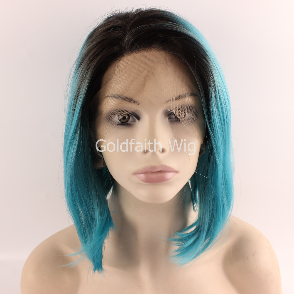 Bob Short Natural Straight Dark Root Black Light Green Synthetic Lace Front Wig Heat Resistant Color Wigs Cosplay Party - QD Goldfaith hair products Co.,Ltd store