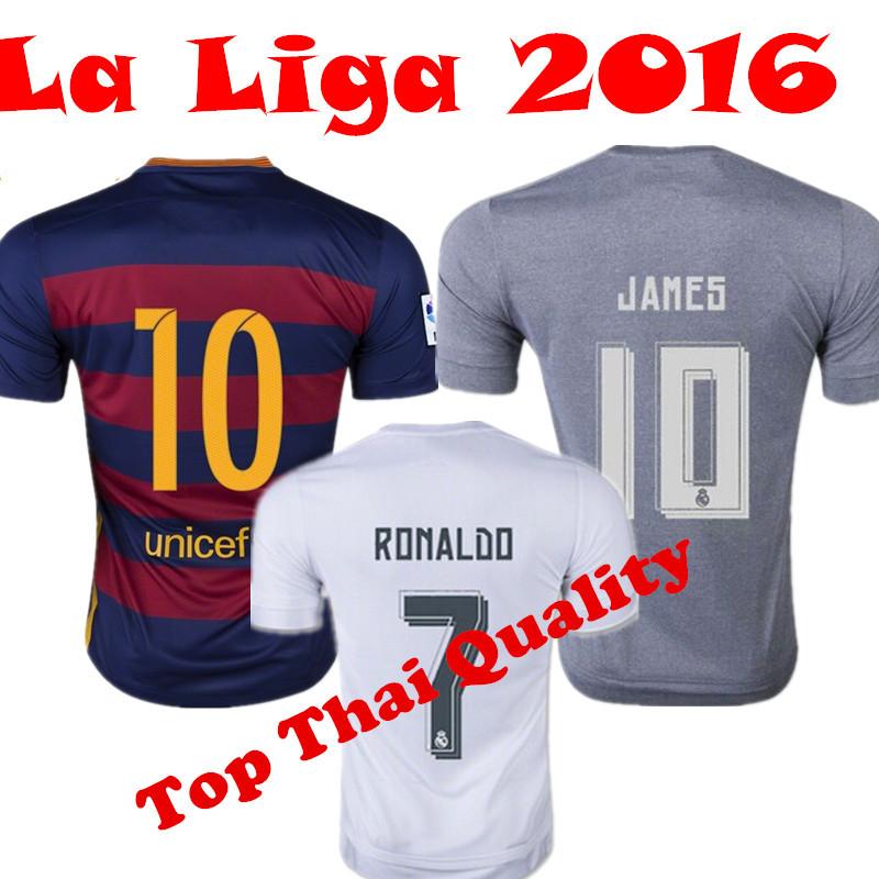 Soccer Jerseys Real Madrid Jersey 2016 Real Madrid 15/16 Spain Camisetas de Futbol Ronaldo James Bale Suarez Neymar Serigo Ramos(China (Mainland))
