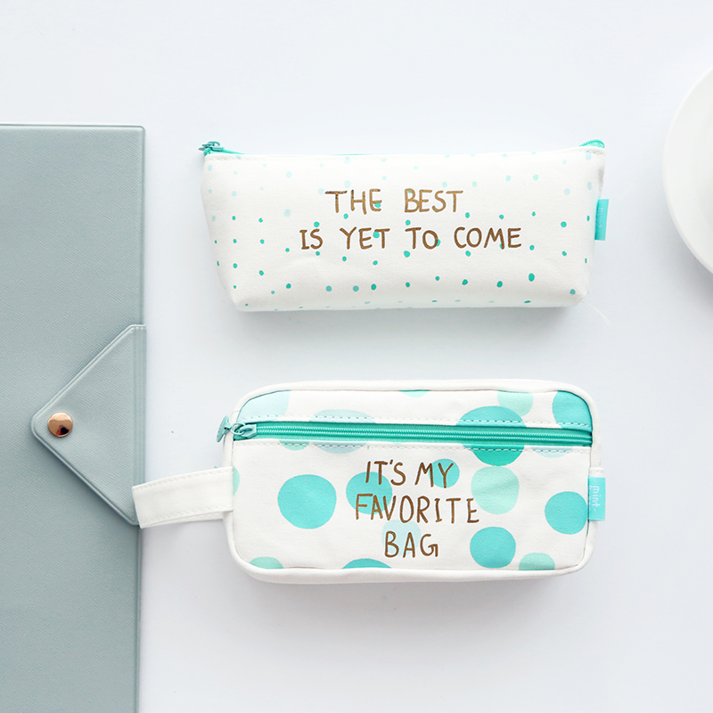 Fresh green pencil case school creative stationery canvas bags mint green series(China (Mainland))