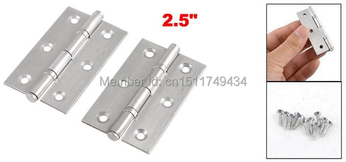 "10 Pcs Home Furniture Hardware Door Hinge Satin Nickel 2.5"" Length Silver Tone(China (Mainland))"