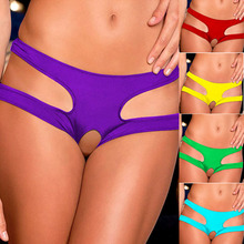 2016 New Womens Sexy Crotch Panties Ladies Pure Color Open Female Briefs Thongs G-string Lingerie Sexy Underwear Women Q1258(China (Mainland))