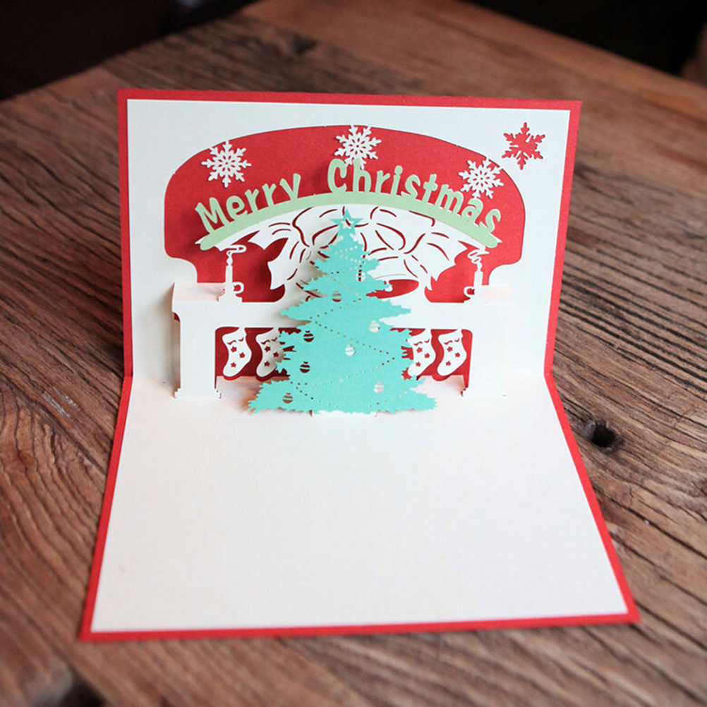 Merry Christmas 3D Pop-up Christmas Tree Greeting Cards For Gift Collection Congratulation Card Handcraft (Red)