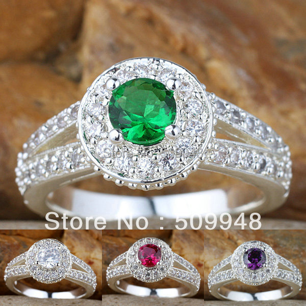 Womens Simulated Diamond Green Emerald Red Ruby Purple Amethyst Real Band Sterling Silver 925 Ring WEDN