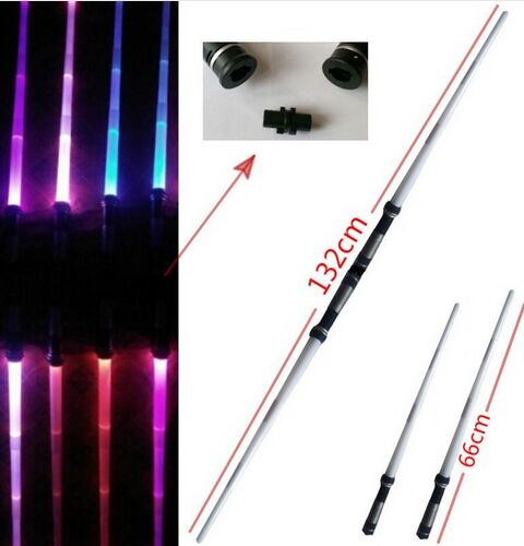 Star Wars 7 colors Stretch Lightsaber Led Flashing Light Sword Toys Cosplay Weapons Can percussion Sabers Action Figure 2pcs/set(China (Mainland))