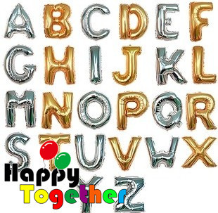 HAPPY TOGETHER Crafts Factory Top Sale 1piece Big Size 40inch Silver And Gold Letters A~Z Party inflatable helium Foil Balloon(China (Mainland))