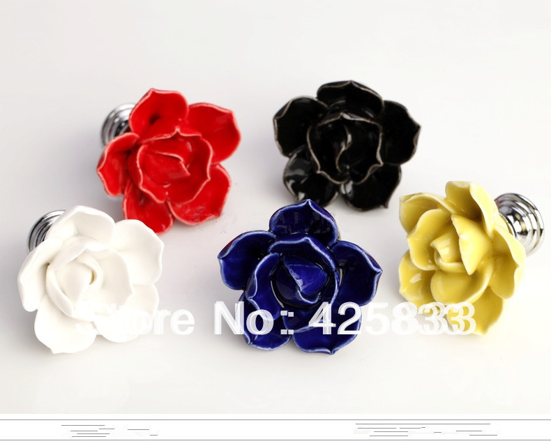 6pcs Red Rose Handles Ceramic Knobs Cabinet Door Kids Flower Pulls Drawer Knobs Kids Dresser Kitchen Accessories Granite Closet