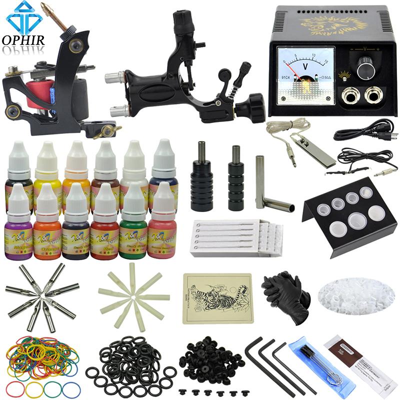 OPHIR 346Pcs/Set Pro Tattoo Kits for Body Tattoo Art Dragonfly Tattoo Machine Guns 12Colors Tattoo Inks Needles Grips _TA070(China (Mainland))
