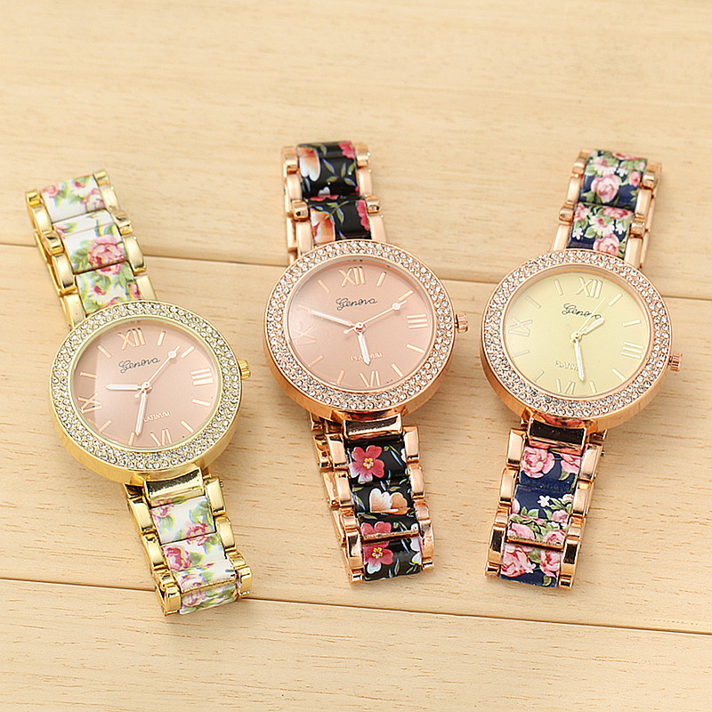 3 Colors New Fashion Floral Bracelet Watch GARDEN BEAUTY Geneva Stainless Steel Band Quartz Wristwatch Watches - aiwise store