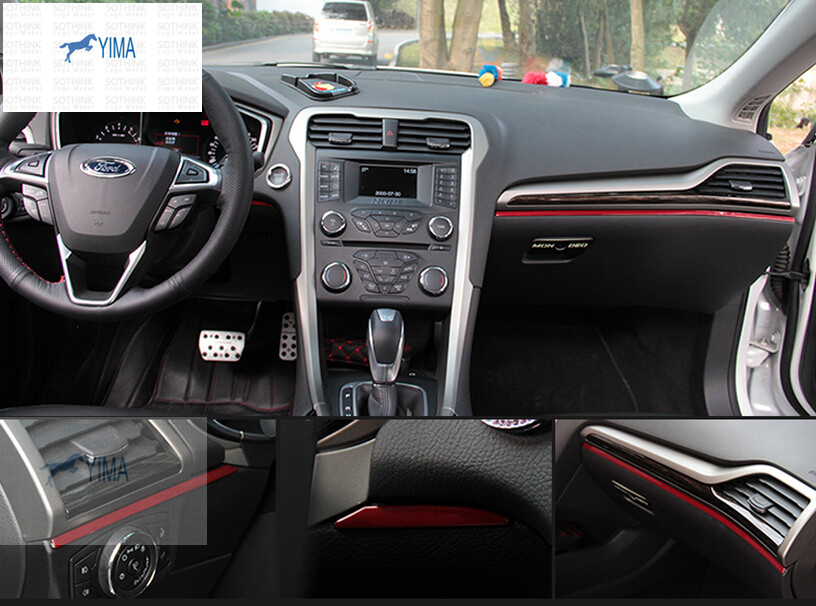 For Ford Mondeo 2014 2015 / Fusion 2014 2015 Stainless Steel Central Control Instrument Panel Decoration Cover Trim 3pc / set