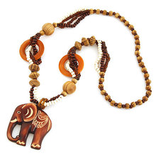 2014 New Design Fashion Vintage Bohemia Elephant Retro Wood Long Statement Necklaces & Pendants Women Men Jewelry